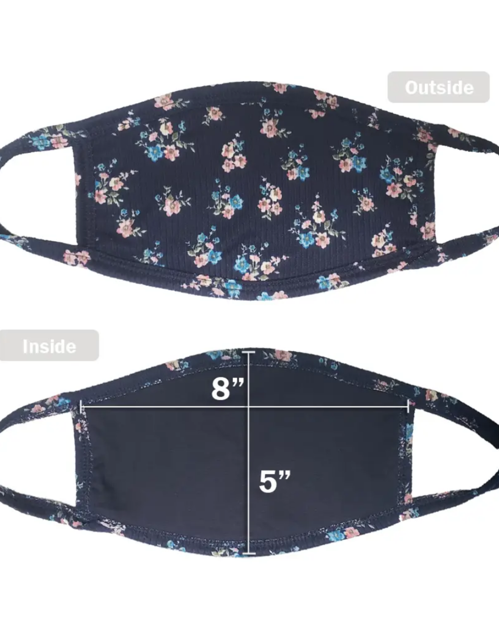Face Mask - Navy Flowers