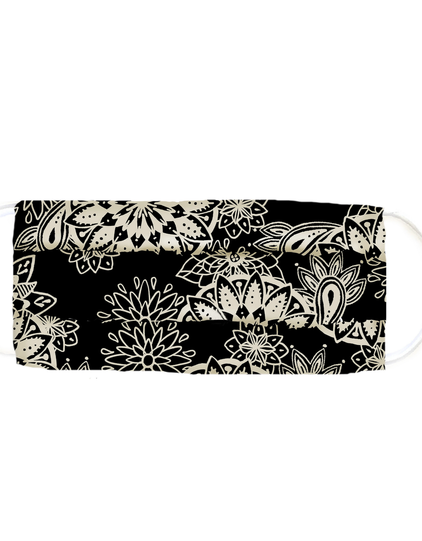 Lotus and Luna Lotus and Luna - Pleated Face Mask - Black and Cream Paisley
