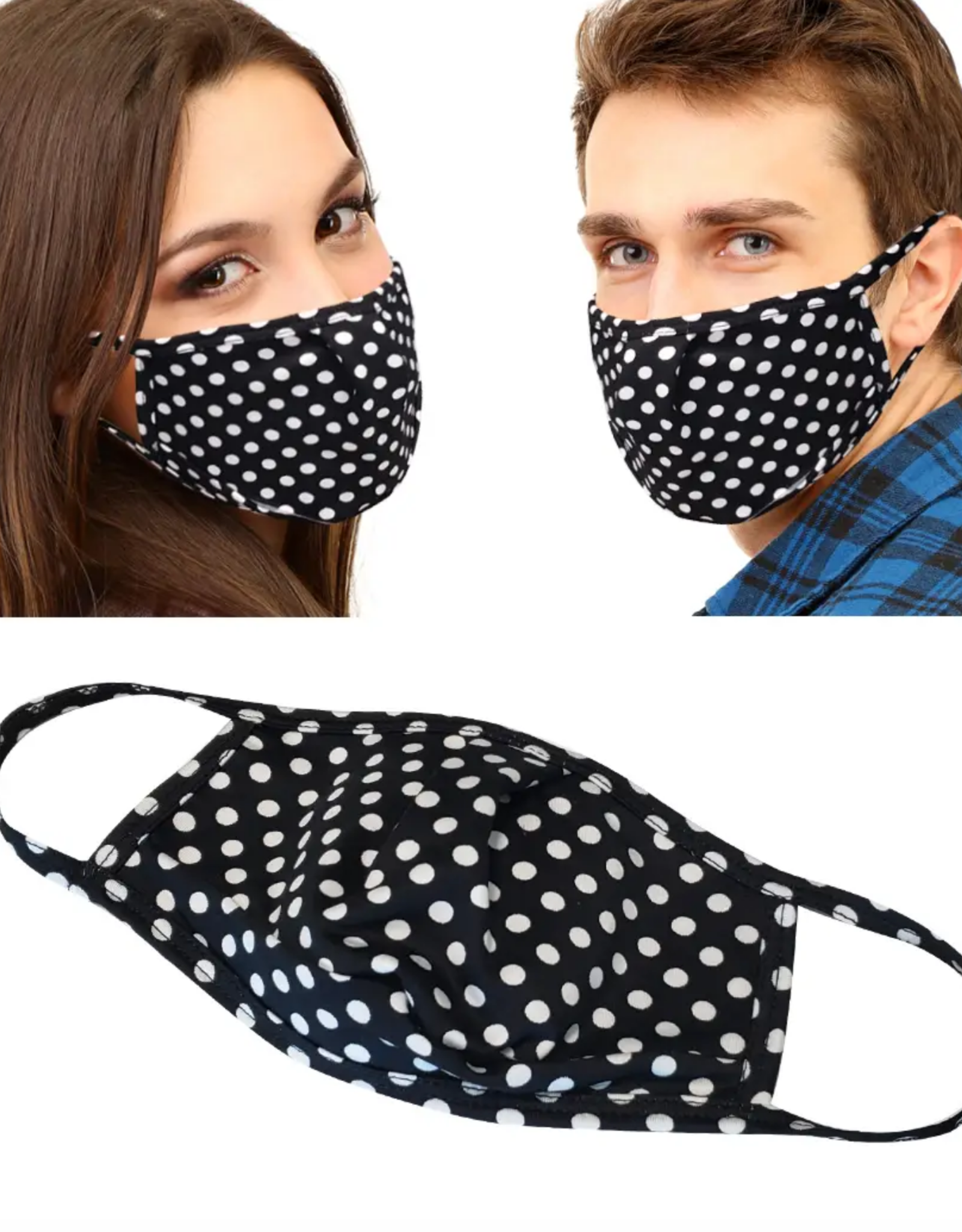 Face Mask - Black and White Dots