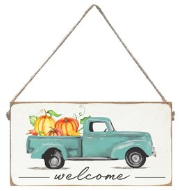 Rustic Marlin Rustic Marlin - Mini Plank Welcome Harvest Truck with Pumpkins