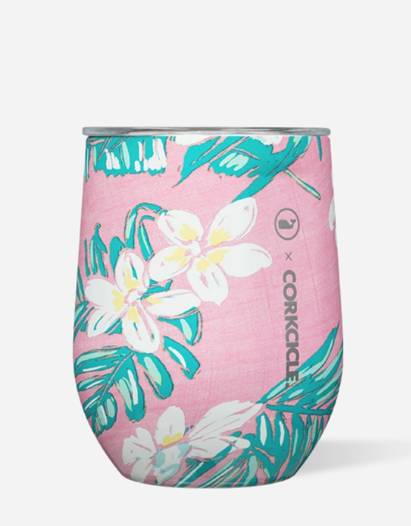 Corkcicle Corkcicle - 12oz Stemless - Vineyard Vines Pink Tropical Flowers