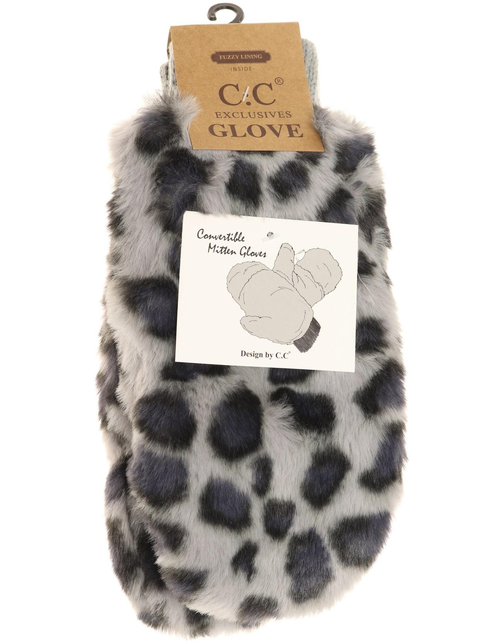 C.C. Beanie C.C. - Leopard Faux Fur Mitten Glove - Grey