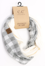 C.C. Beanie C.C. - Ribbed Knit Check Infinity Scarf - White/Light Grey