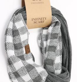 C.C. Beanie C.C. - Ribbed Knit Check Infinity Scarf - Dark Grey/White