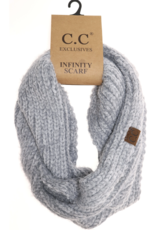 C.C. Beanie C.C. - Chenille Knit Infinity Scarf - Natural Grey