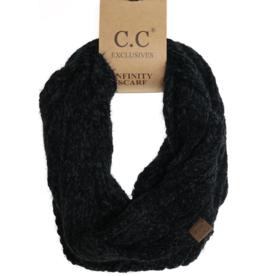 C.C. Beanie C.C. - Chenille Knit Infinity Scarf - Black