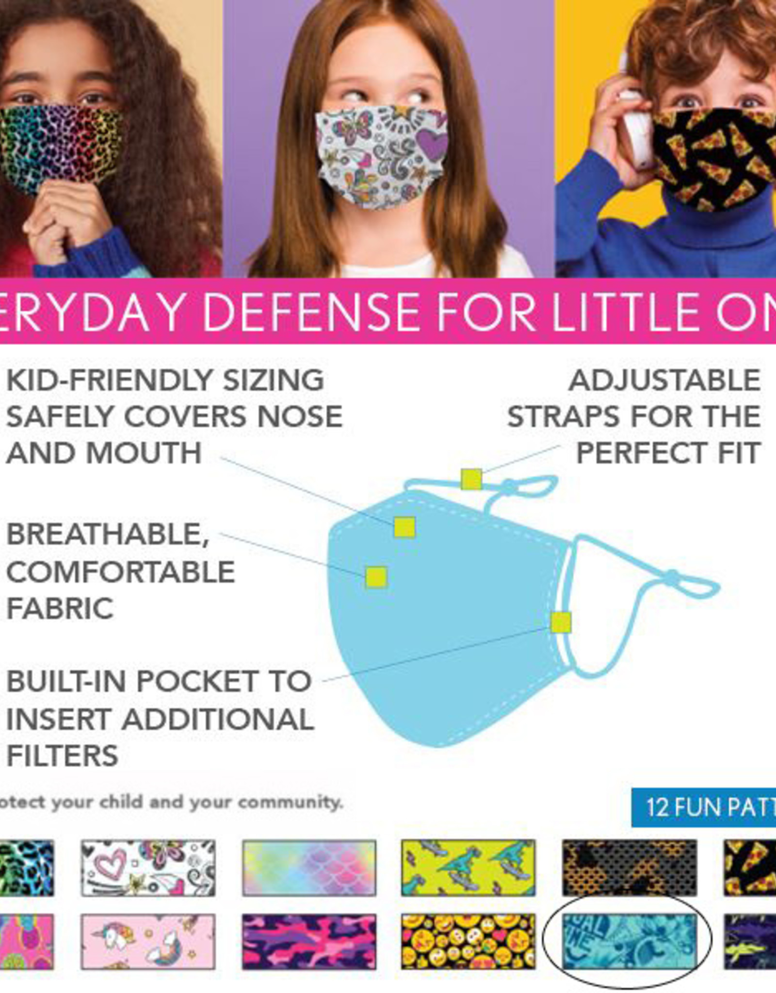 DM Merchandising Cotton Face Masks - Kids - Sports