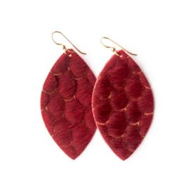 Keva - Earings Scalloped in Red