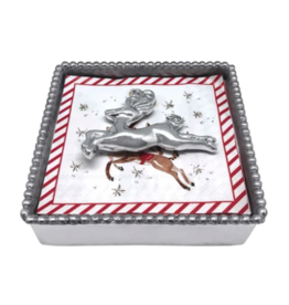 Mariposa Mariposa - Leaping Reindeer Beaded Napkin Box