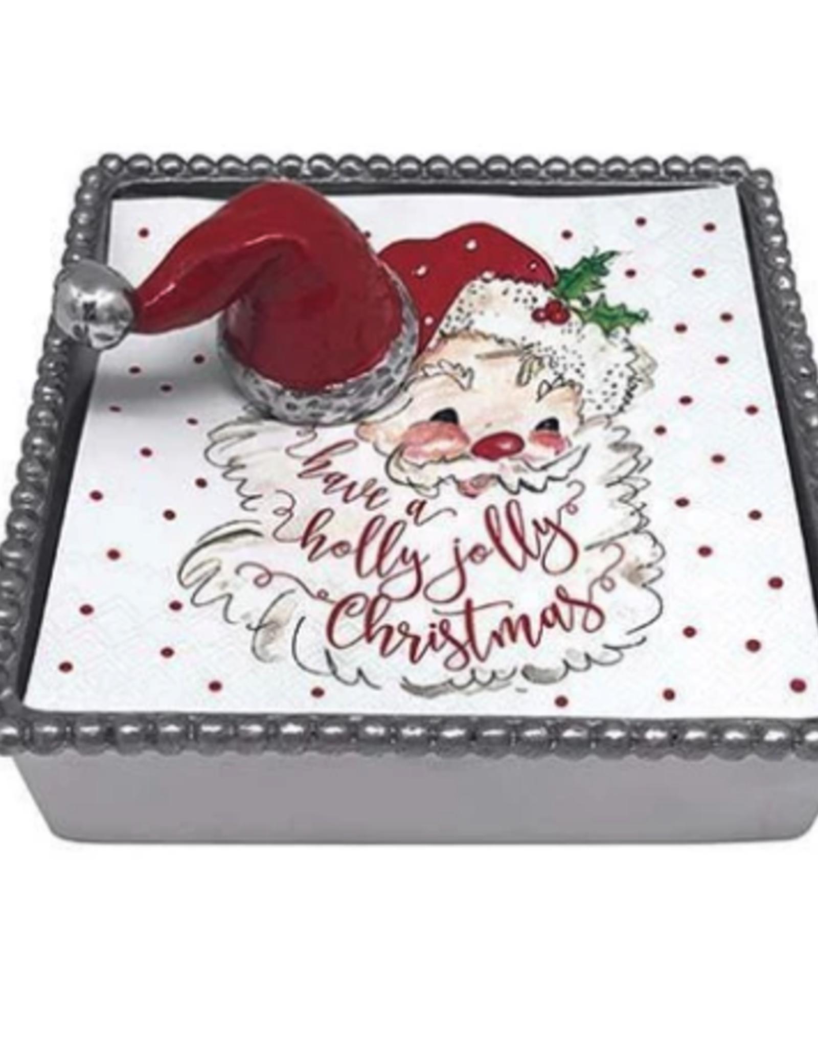 Mariposa Mariposa - Santa Hat Beaded Napkin Box