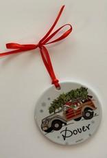 PhiloSophie's - Santa in Woodie Dover Ornament
