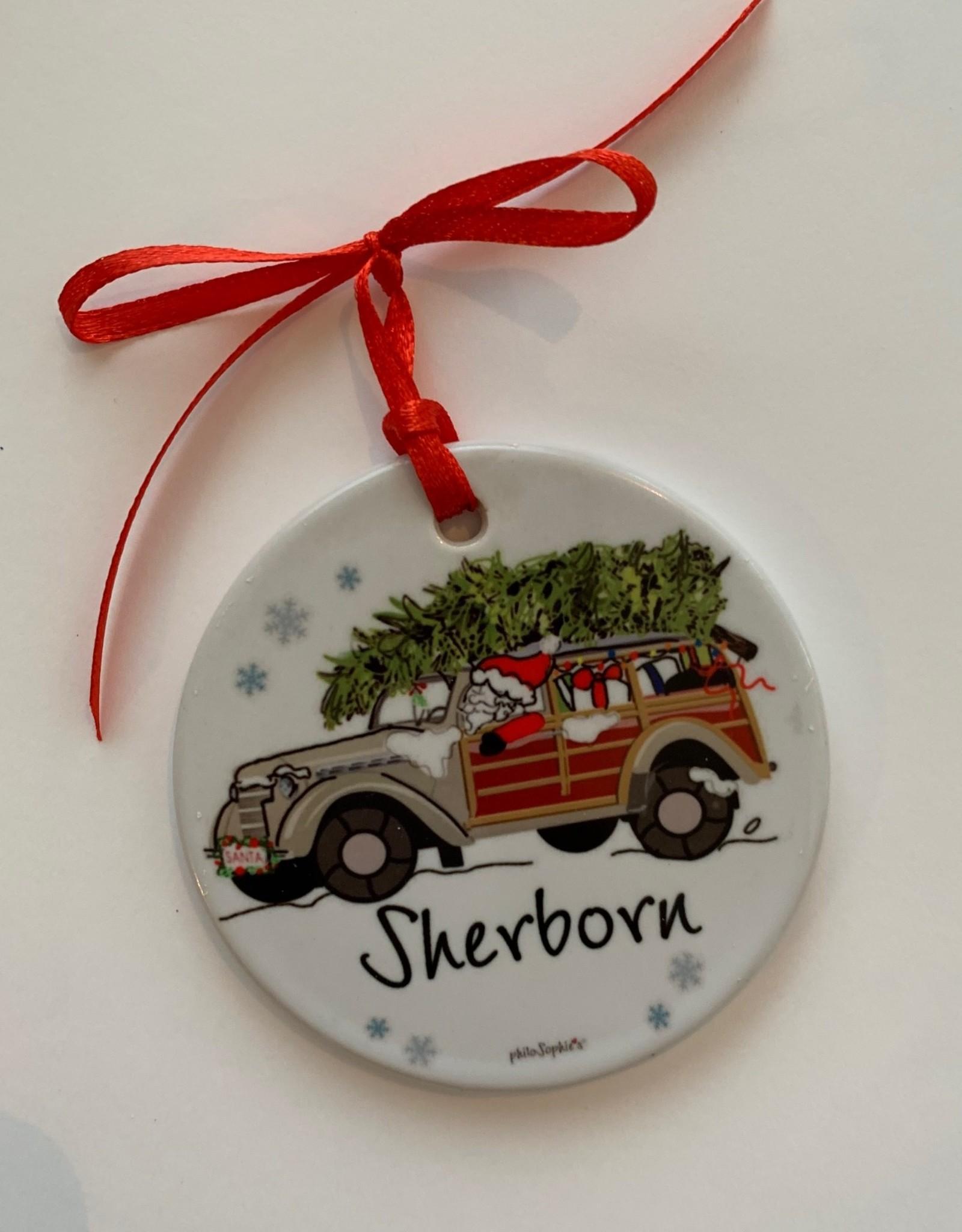PhiloSophie's - Santa in Woodie Sherborn Ornament