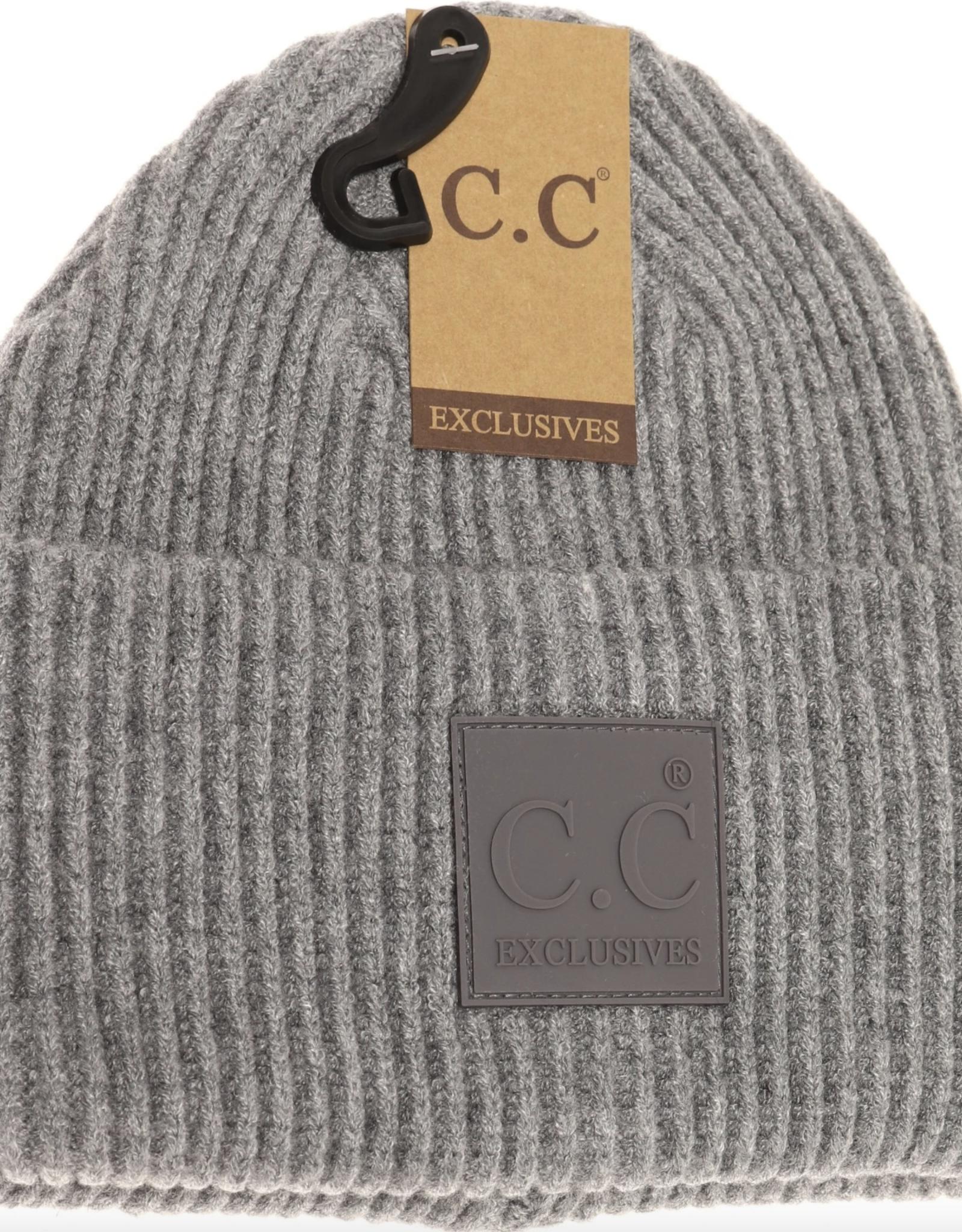 C.C. Beanie C.C. - Solid Ribbed CC Beanie W/Patch
