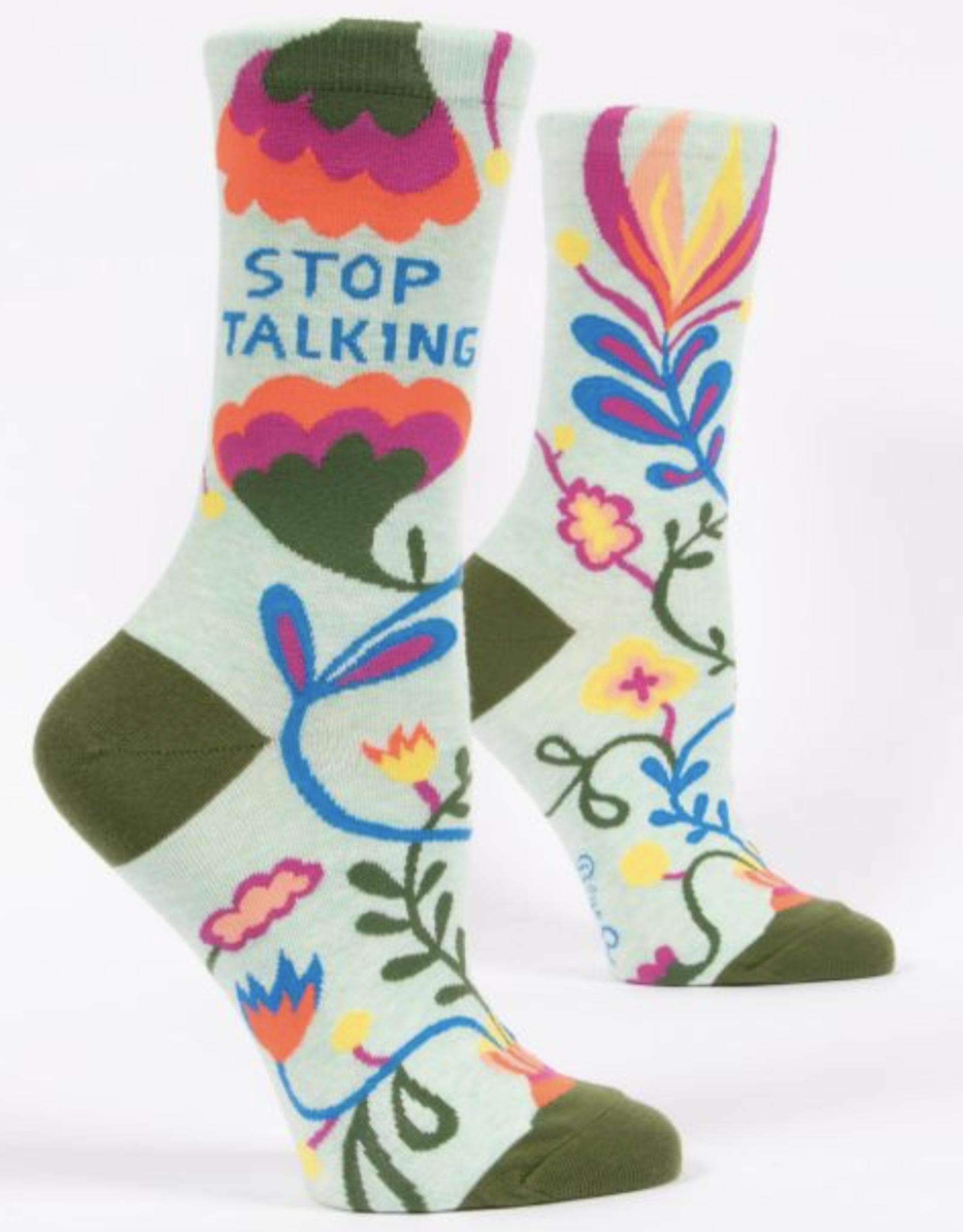 Blue Q Blue Q - Crew Socks Stop Talking