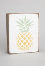 Rustic Marlin Rustic Marlin - Wood Block Pineapple - Yellow/Green