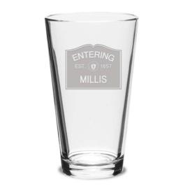 Millis Glassware - Entering Millis EST. 1657 Pint Glass