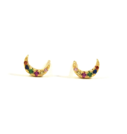 f.y.b. f.y.b. - Rainbow Moon Studs Gold