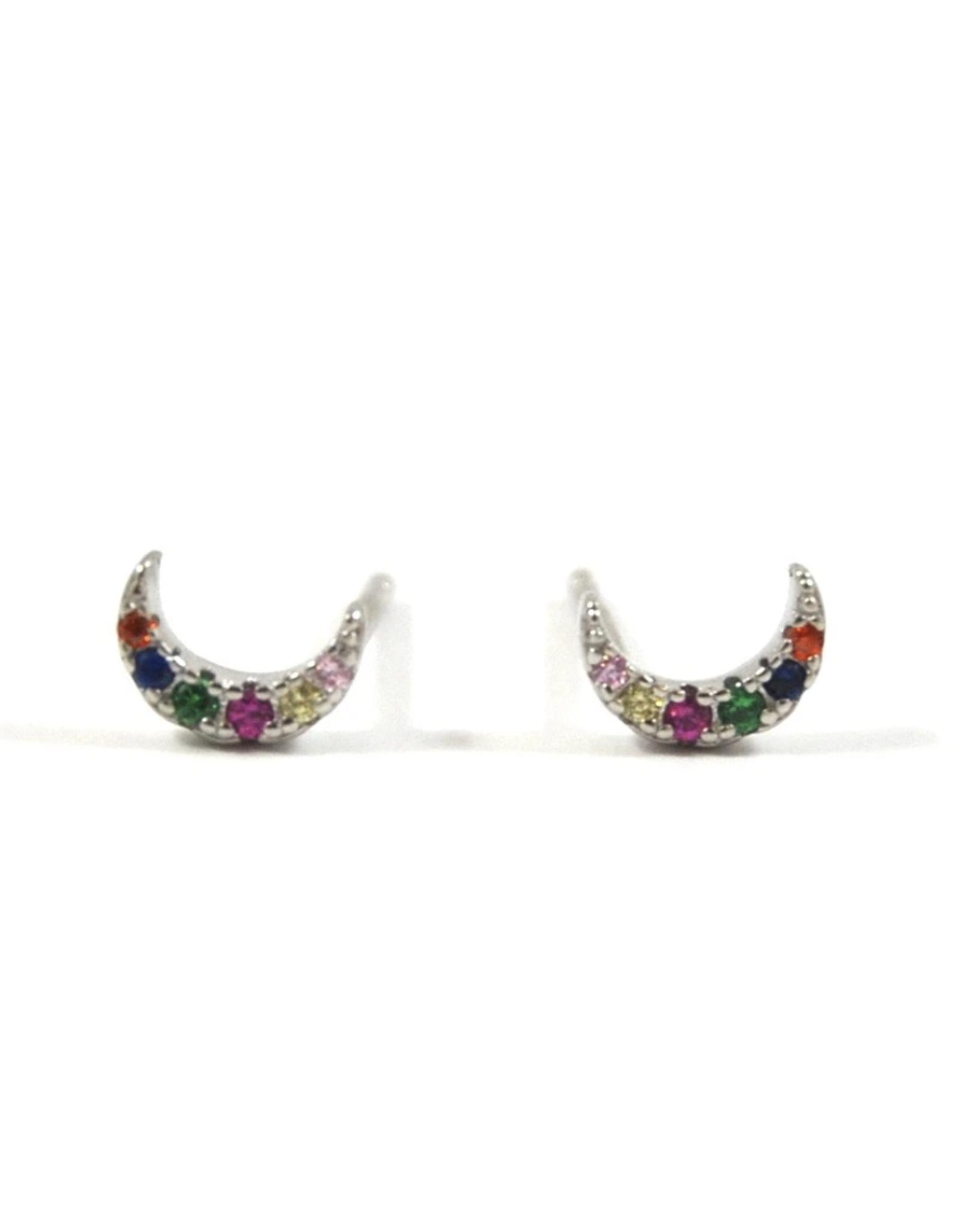 Eff Y Bee f.y.b. - Rainbow Moon Studs Silver
