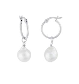 Eff Y Bee f.y.b. - Kaia Hoop Earring Silver Pearl