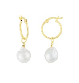 Eff Y Bee f.y.b. - Kaia Hoop Earring Gold Pearl