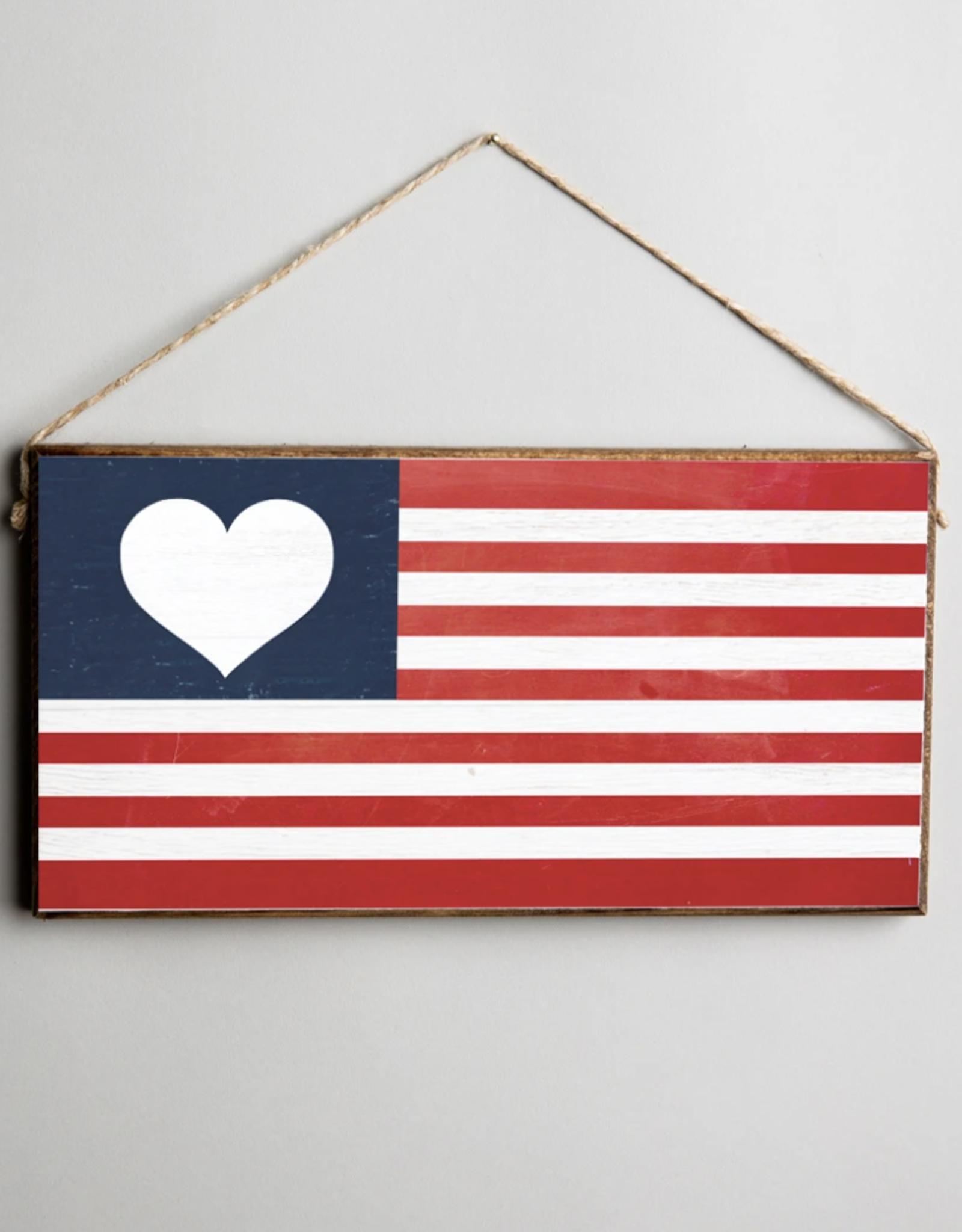 Rustic Marlin Rustic Marlin - Flag Heart Mini Plank