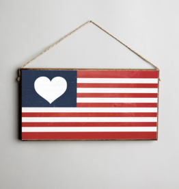 Rustic Marlin Rustic Marlin - Flag Heart Mini Plank