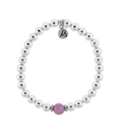 T. Jazelle T. Jazelle - Silver Cape Bracelet - Pink Opal Ball