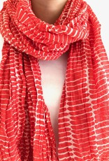 See Design - Cotton Scarf - Fence, Red