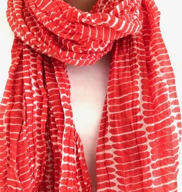 See Design See Design - Cotton Scarf - Fence, Red