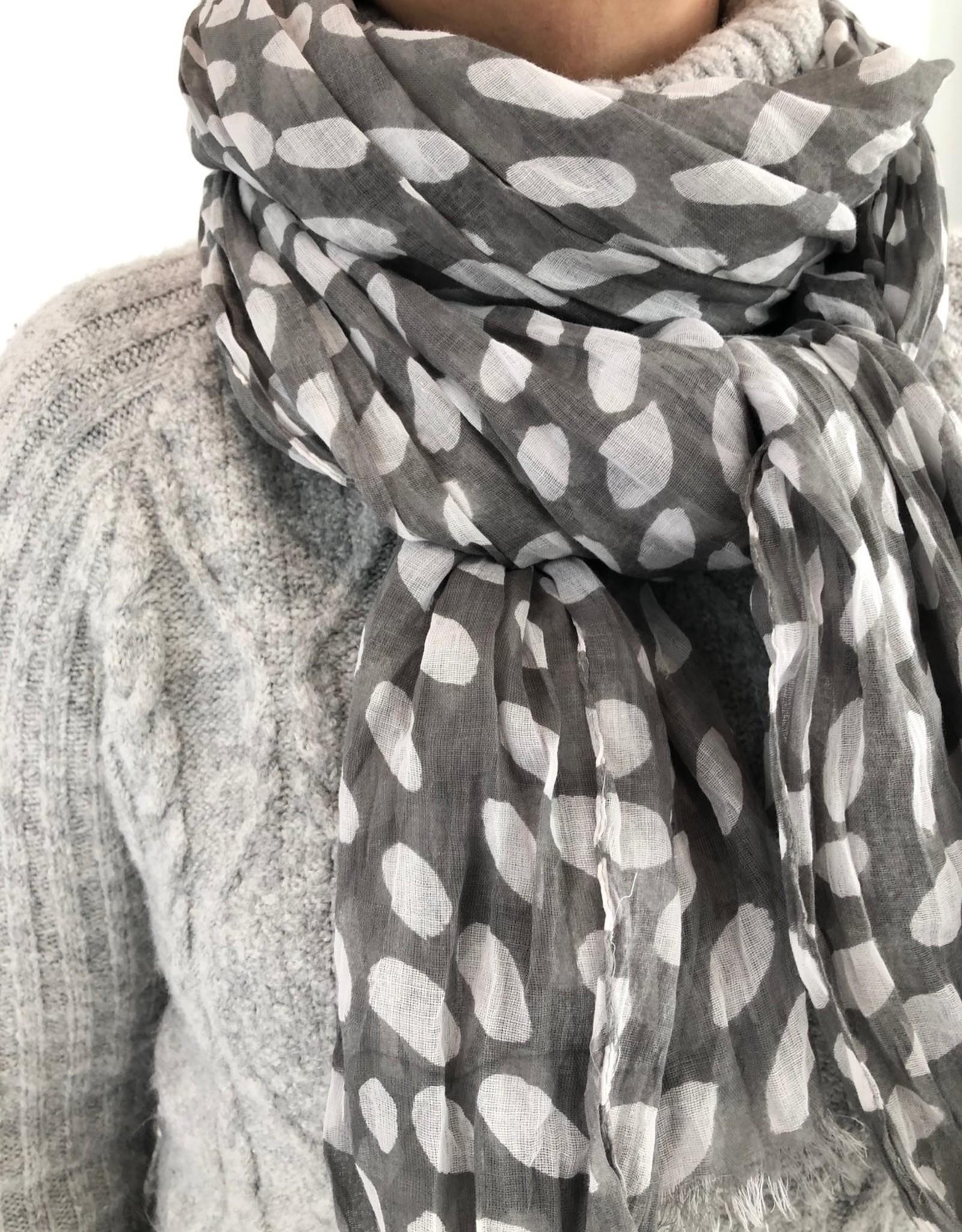 See Design - Cotton Scarf - Cheetah, Grey