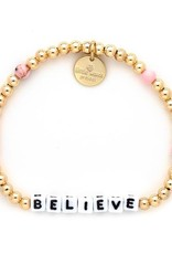 Little Word Project Bracelet - Believe - Gold - Pink Turq