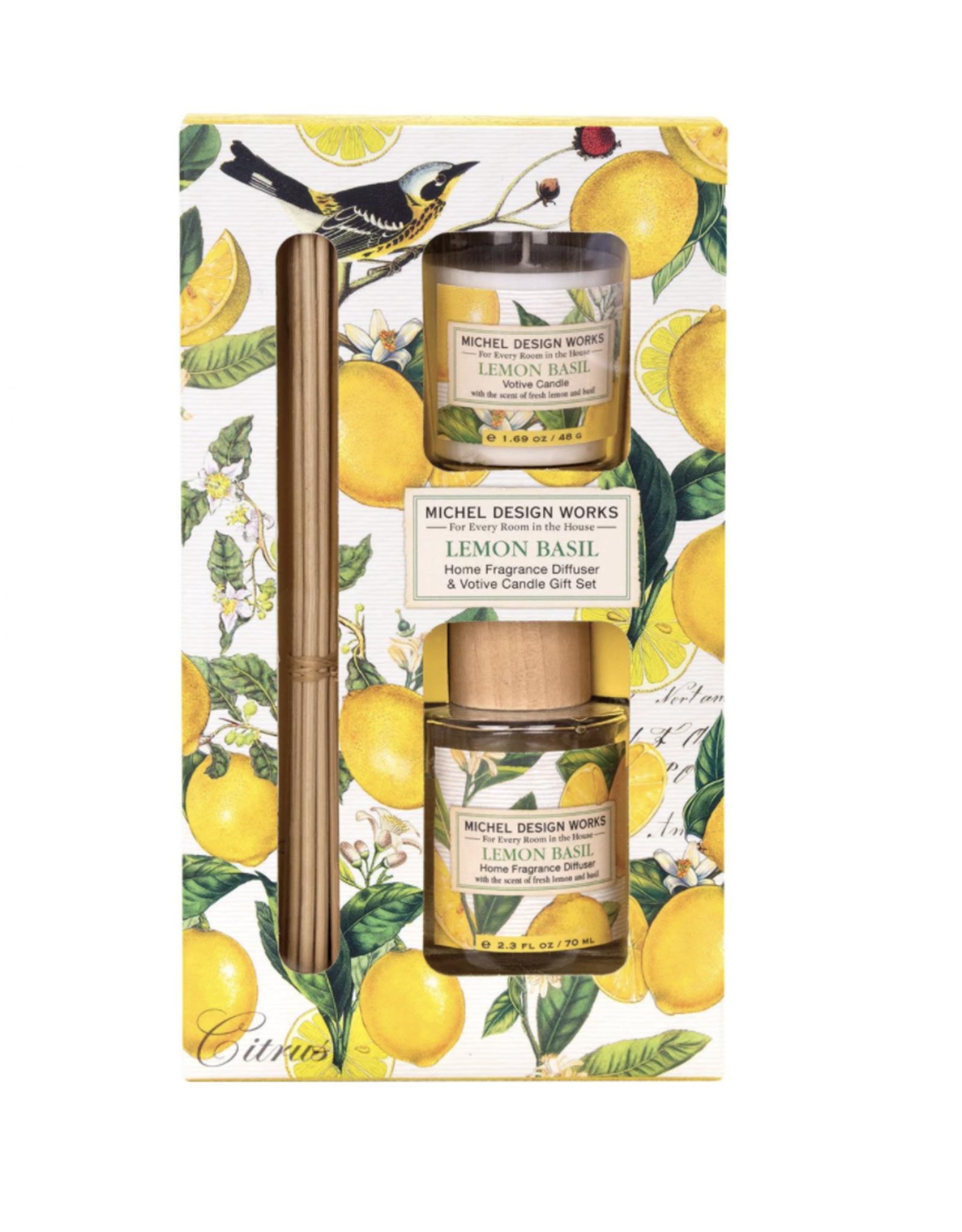 Michel Design Works Michel Design Works - Lemon Basil Home Fragrance Diffuser & Votive Candle Gift Set