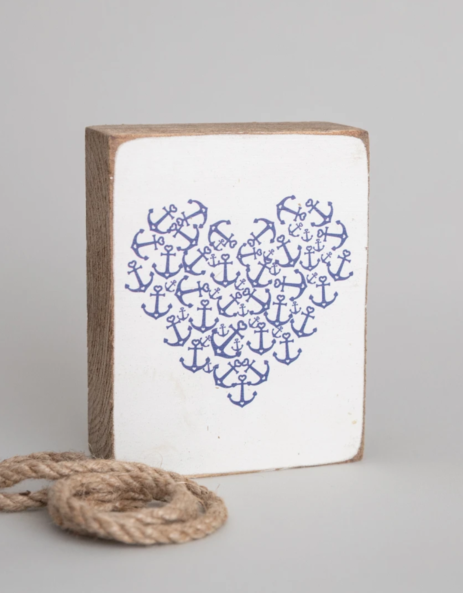 Rustic Marlin Rustic Marlin - Wood Block Anchor Heart
