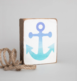 Rustic Marlin Rustic Marlin - Blue Ombre Anchor Symbol Block