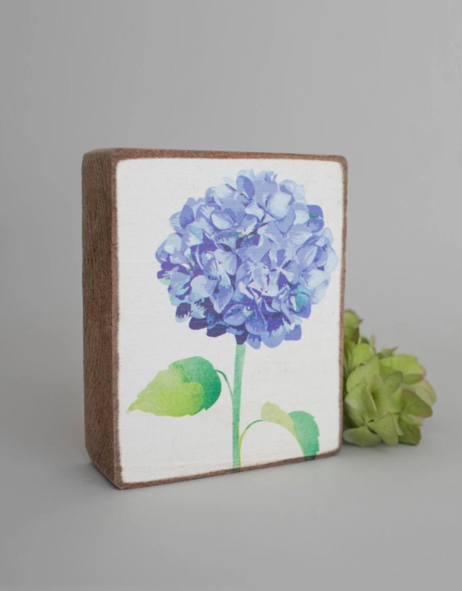Rustic Marlin Rustic Marlin - Wood Block Blue Hydrangea