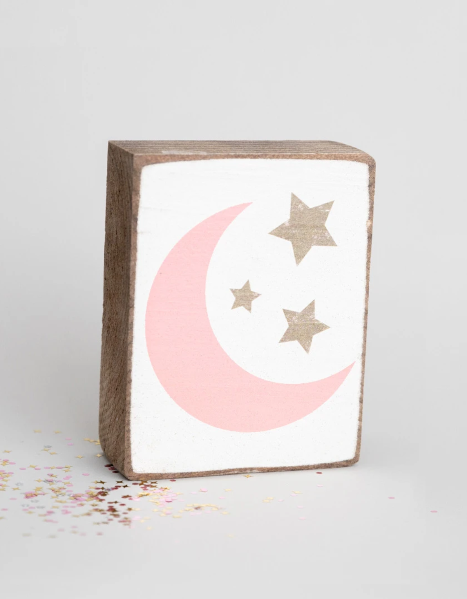 Rustic Marlin Rustic Marlin - Wood Block Moon + Stars Pink/Gold