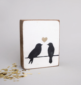 Rustic Marlin Rustic Marlin - Wood Block Lovebirds