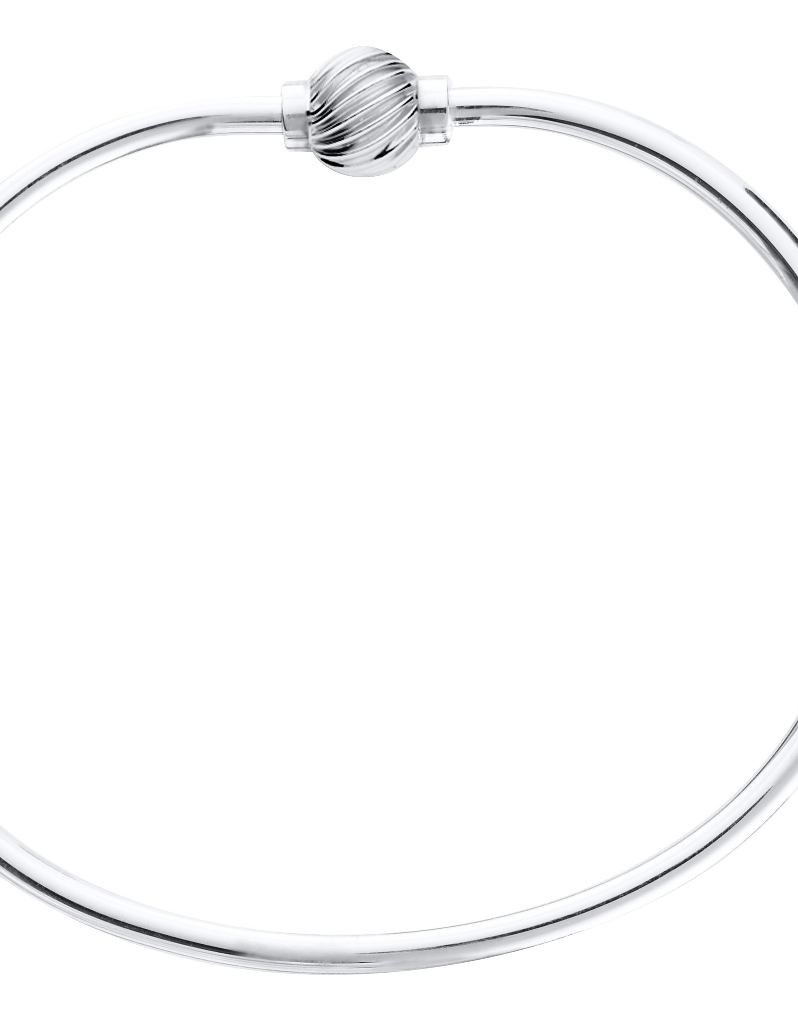 """Lestage - 6"""" Swirl Cape Cod Bracelet - Sterling Silver with Silver Ball"""
