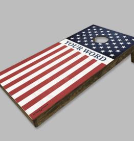 Rustic Marlin Rustic Marlin - American Flag Personalized Cornhole Set