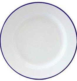 CGS INT. CGS Dinner Plate Solid White w/ Blue Rim
