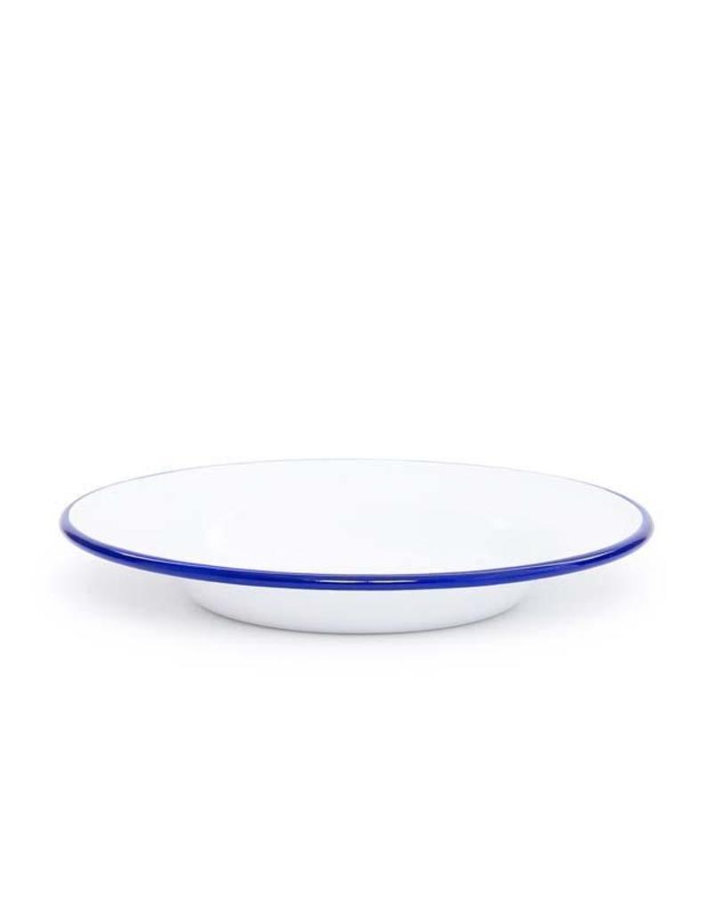 "CGS INT. CGS 7.5"" Salad Plate Solid White w/ Blue Rim"