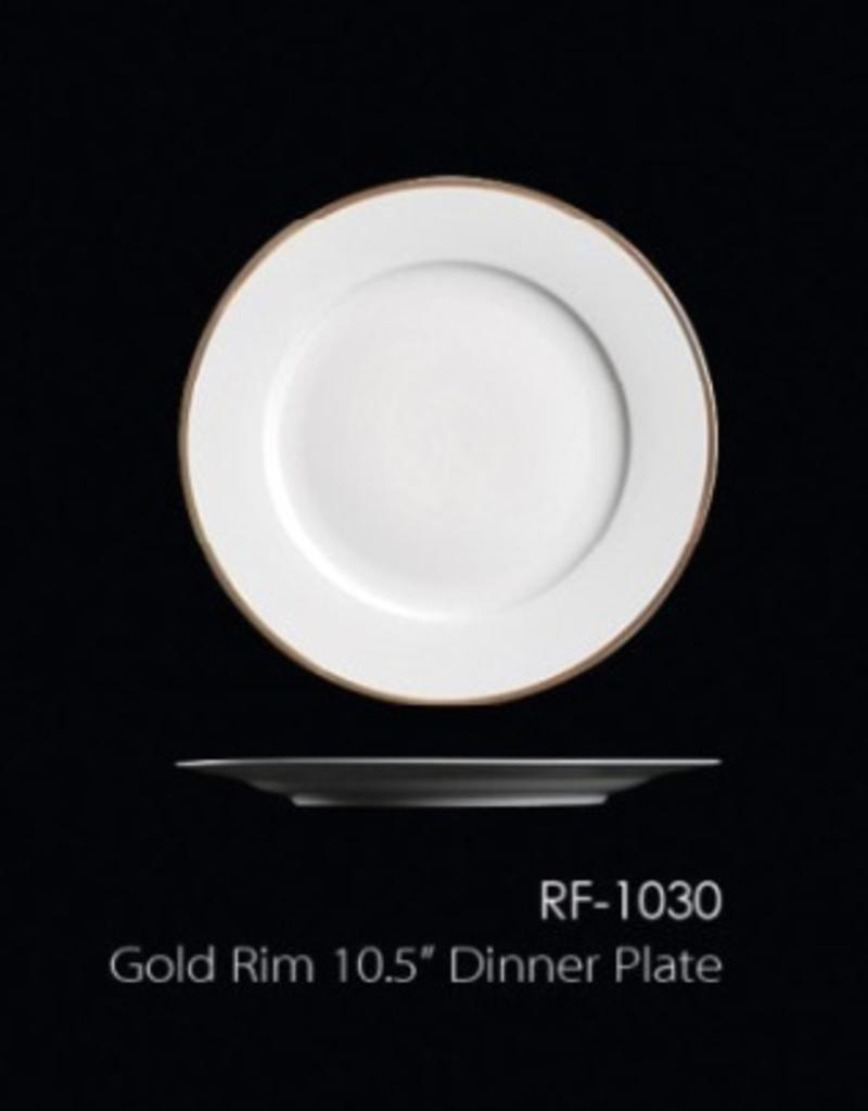"UNIVERSAL ENTERPRISES, INC. 10.5"" Dinner Plate w/ Gold Rim"