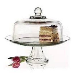 ANCHOR HOCKING Anchor Presence Cake Stand with dome clear