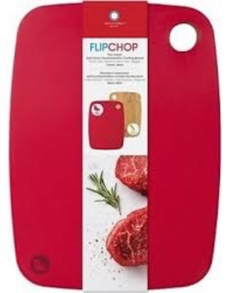 Architec ARCHITEC Flipchop White Cutting Board with Poly Side and Bamboo Side  Red
