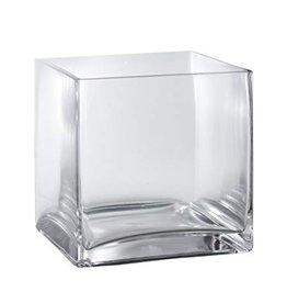 "6""H x 6"" Glass Cube Vase"