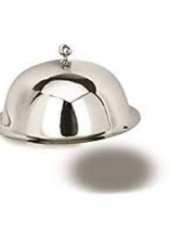 """12"""" S/S Cloche Dome metal shiny with a knob"""