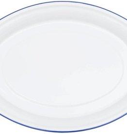CGS INT. CGS Oval Platter Solid White w/ Blue Rim