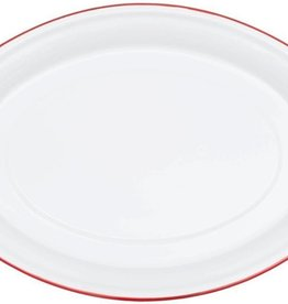 CGS INT. CGS Oval Platter Solid White w/ Red Rim