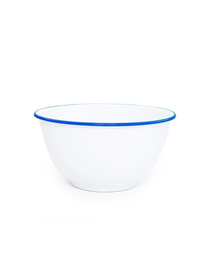 "CGS INT. Large Salad Bowl Solid White w/ Blue Rim  10.75"" diameter"