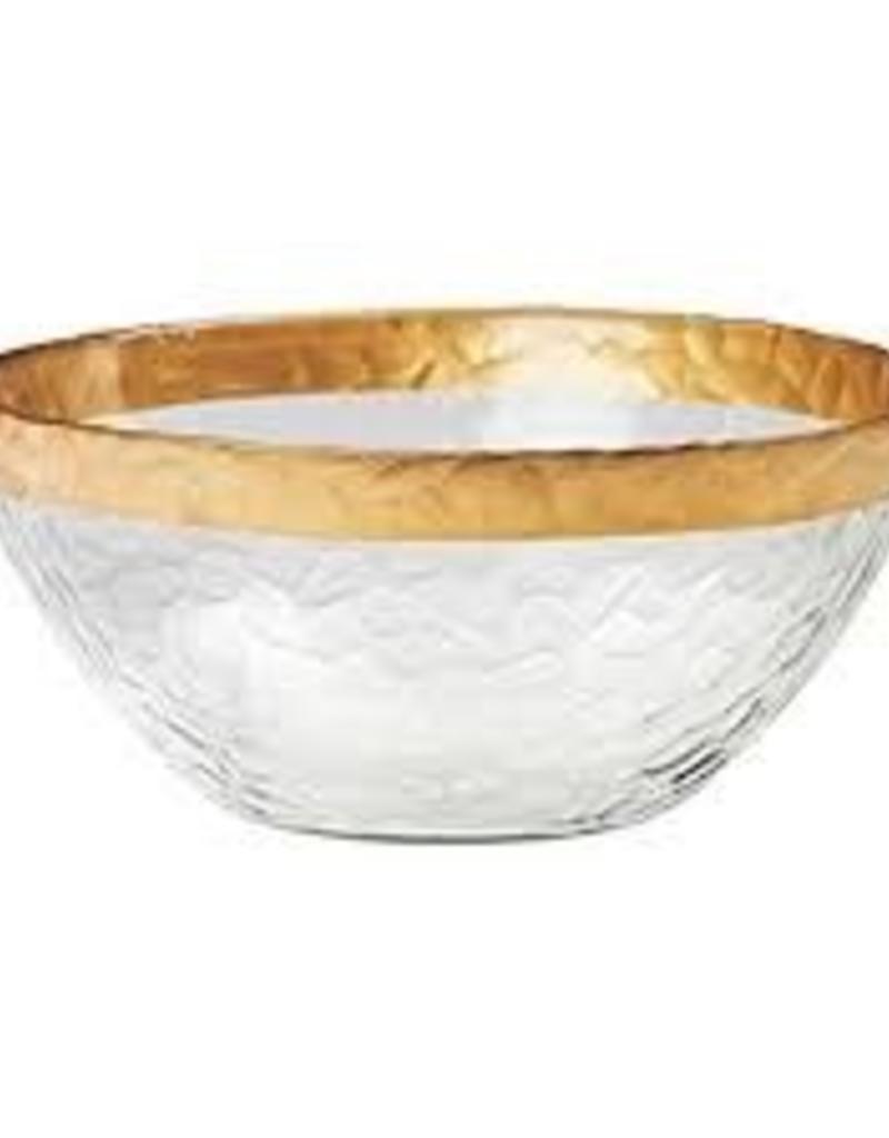 GLOBAL AMICI GLOBAL AMICI Leonardo Glass Serving Bowl with Gold Rim